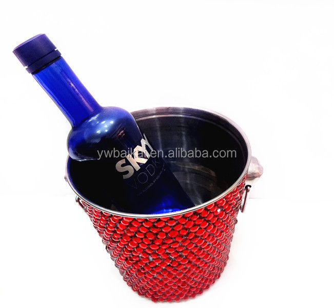Stainless steel round ice bucket or Red wine ice bucket