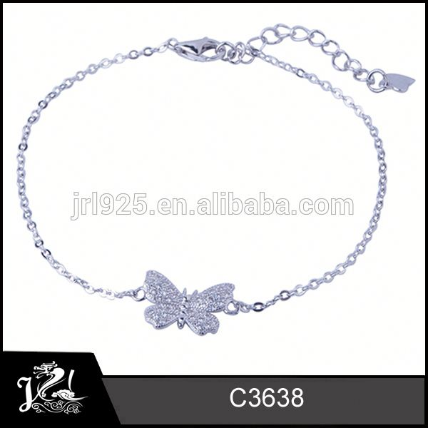 White gold plated 925 sterling silver girl bracelet jewelry ad stone