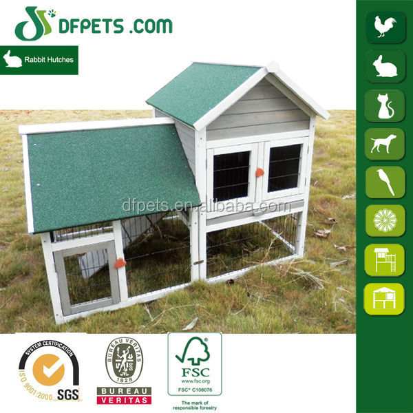 Dfpets dfr051 wood rabbit house for sale buy rabbit for Outdoor rabbit hutch kits