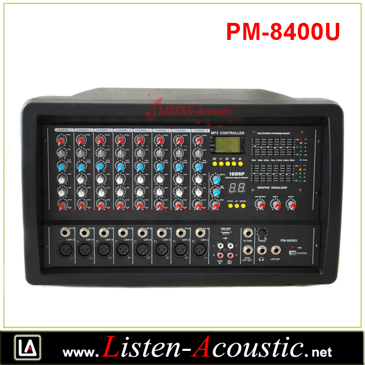 PM-8400U Professional Multi functional 8 Channel Portable Power Mixer