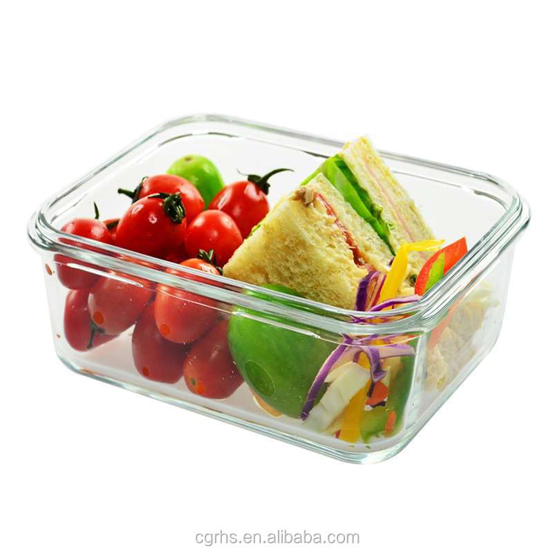 Fire resistant professional high borosilicate glass food storage containers/ glass lunch box with plastic lid