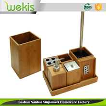 Bamboo Bath Sets Craft Soap Dish Tumbler Toothbrush Holder Custom Toilet Brush