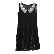 Top hot sale black chiffon beaded sleeveless new fashion ladies dress princess flower girl dress new 2 year old girl dress