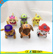 Hot Selling Novelty Design Soft Plush Electric Walking Barking Colorful Puppies Patrol Stuffed Toy for Birthday Christmas Gift