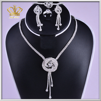 Wholesal rhinestone crystal female necklace pendants or charms forwedding gift jewelry set