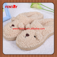 Apricot baby plush animal toy doll winter slipper with high quality