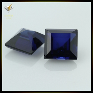 10x10mm aaa square shape step cut blue sapphire created corundum