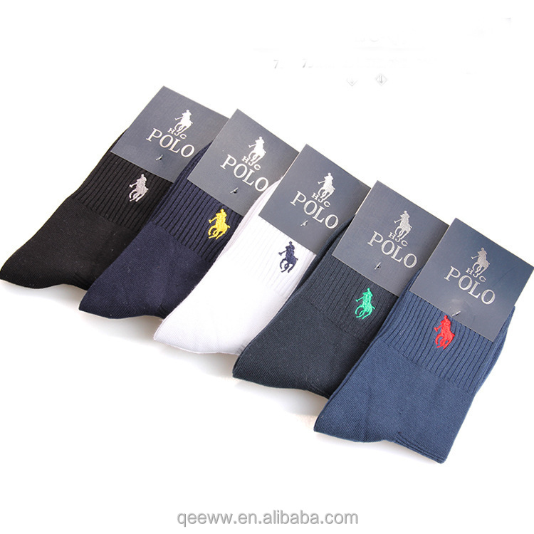 Fashion Brand Polo Men Socks Cotton Flax In Tube Socks Embroidered Casual Business Socks calcetines hombre