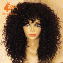 Virgin Brazilian Kinky Curly Full Lace Wig 12inch 14inch 16inch Curly Human Hair Lace Wig With Curly Bangs