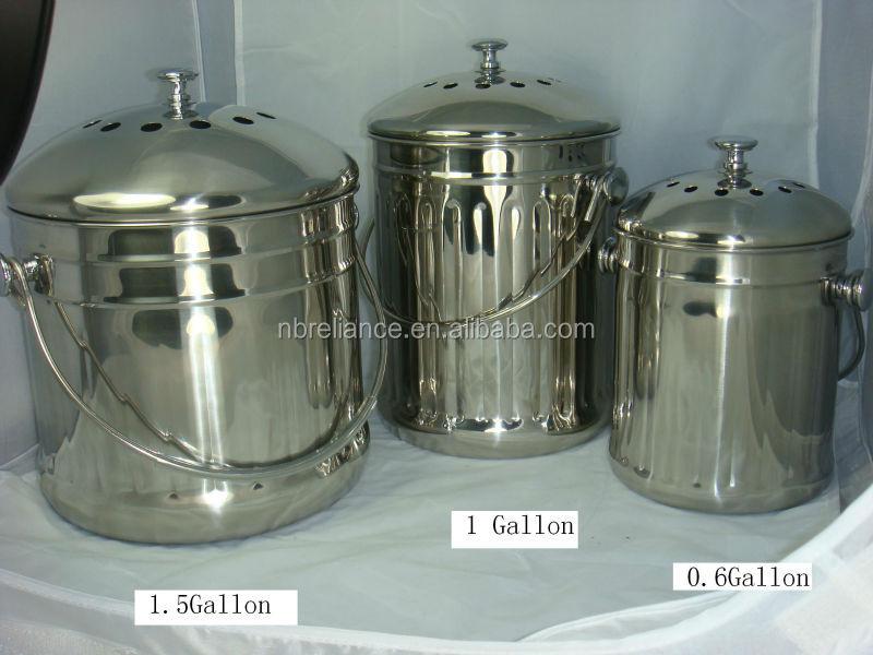 Cylindrique cuisine en acier inoxydable compost seau for Seau compost cuisine