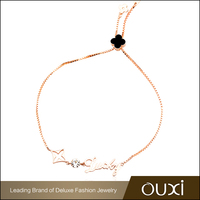 OUXI simple style gold plated four leaf clover fashion jewelry bracelets 30343