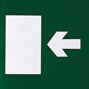 Emergency exit sign frame arrow
