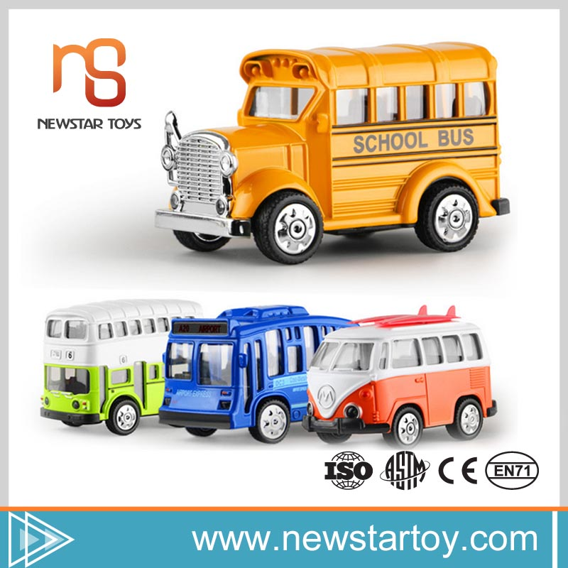 Wholesale cheap small pull back alloy 1:36 scale model toy bus for sale