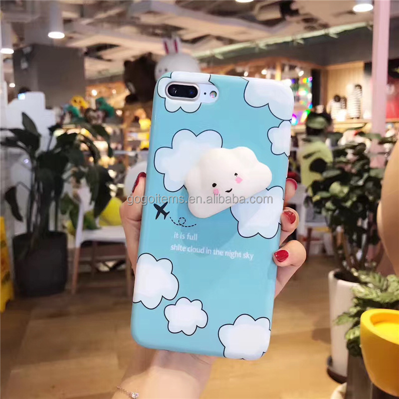 3D animal squeeze TPU silicon lovely design flip cover mobile hard squishy phone case cell