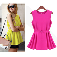 Walson top sales beautiful clothes Chiffon Sleeveless O-Neck Casual Shirt Tops Blouse for woman S-XL 16287 best ing