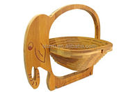 Eco-friendly Bamboo Elephant Fruit Basket Bowl Designed With A Unique Folding Feature