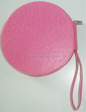 genuine leather hanging pink CD holder case