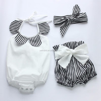 Custom vintage baby rompers with headband bow tie stripe shorts baby girl kids latest clothes clothing sets designs