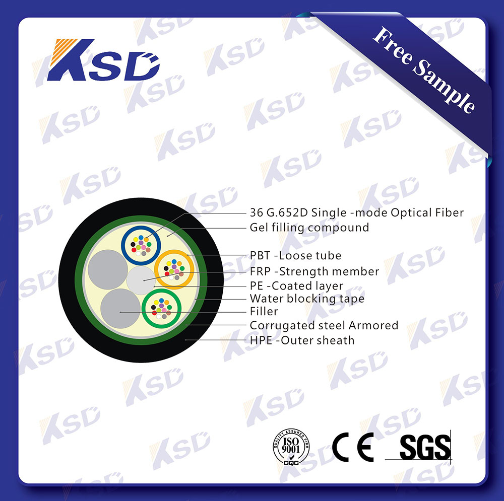 GYTS 36 core steel tape armored single mode fiber optic cable spool