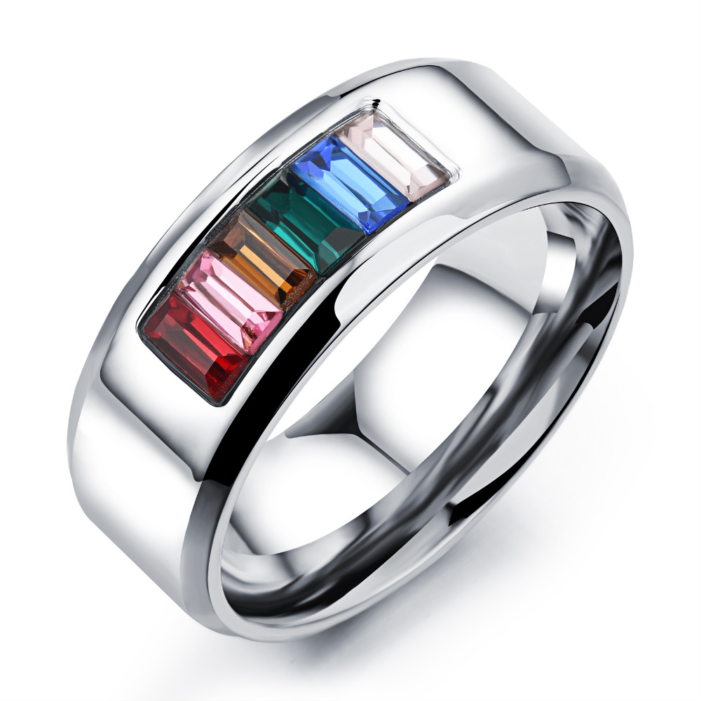 TRYME Fashion Rainbow Wedding/Engagement <strong>Rings</strong> For Men Women Wholesale Gay Pride <strong>Ring</strong> With Cubic Zirconia Stainless Steel GJ481
