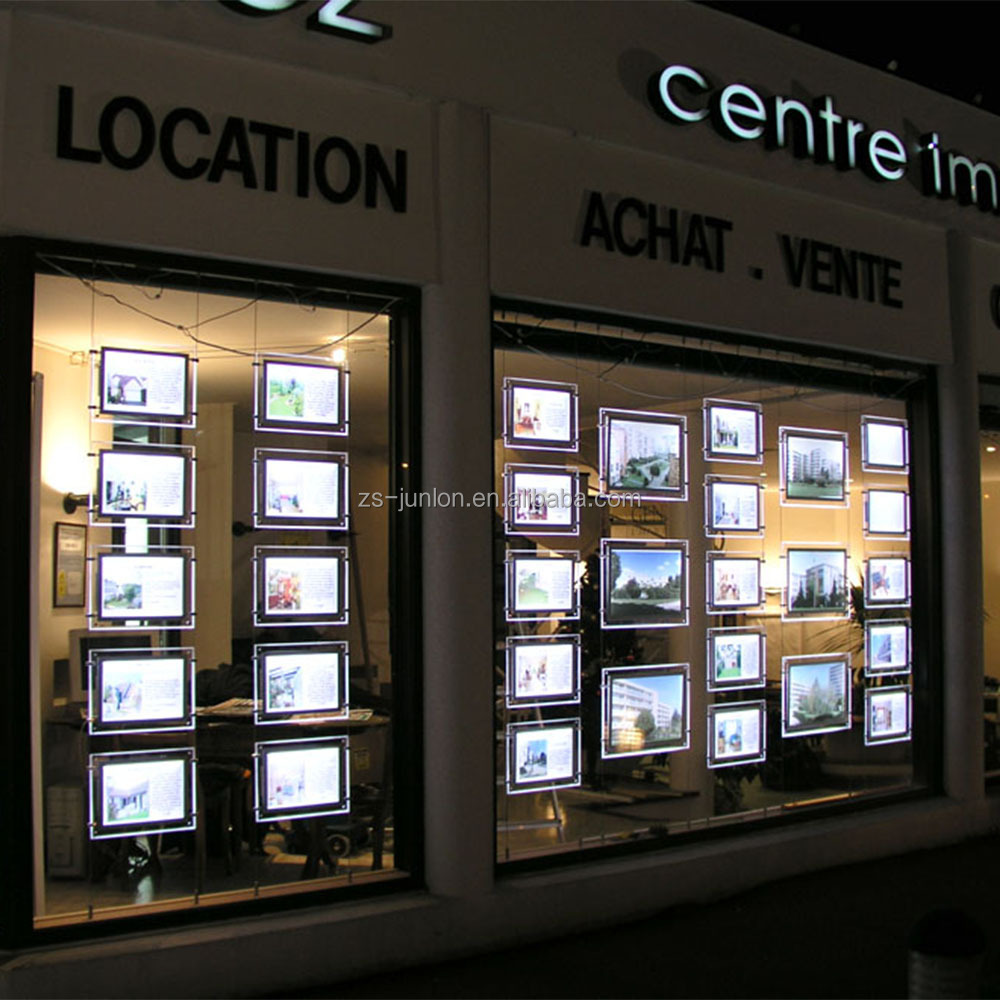 LED Illuminated A3 Real estate agent Window Display Advertising Lightbox