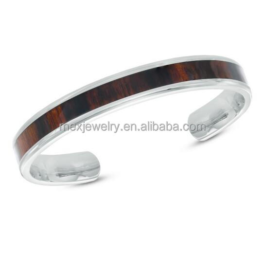 "8.5"" Men's Dark Wood Inlay Plain Cuff Bracelet Fashion Stainless Steel Wooden Bamboo Jewelry"