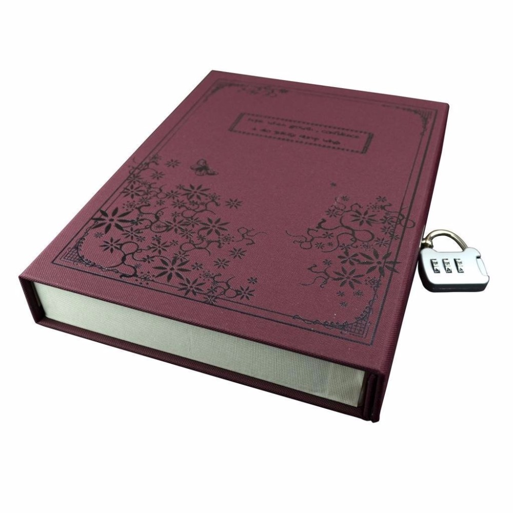 HQ14 Lock book notebook,fingerprint lock diary,cute diary with code lock and key