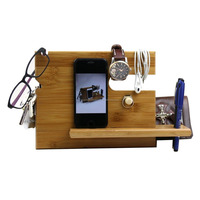 Bamboo Phone Docking Station with Key Holder, Pen Holder, Wallet and Watch Organizer