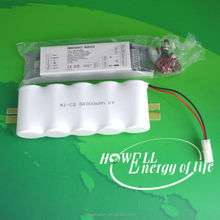 6V 4000mAh NiCD battery pack D size rechargeable battery pack for emergency lamp