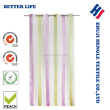 Eyelet Rainbow Stripe Polyester Yarn Dyed Panel Fancy Window Curtain