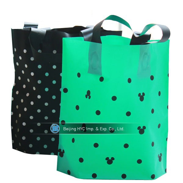 Custom bioderadble plastic bag for shopping with punch handlewholesale shopping plastic bag factory