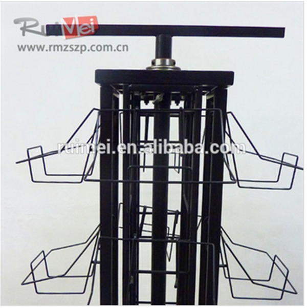 Multi-tier Floor-standing Black Metal Brochure Display Rack