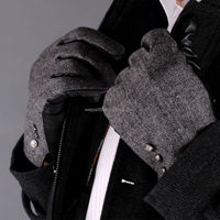 Custom made men fashion black sheepskin hand leather gloves winter gloves