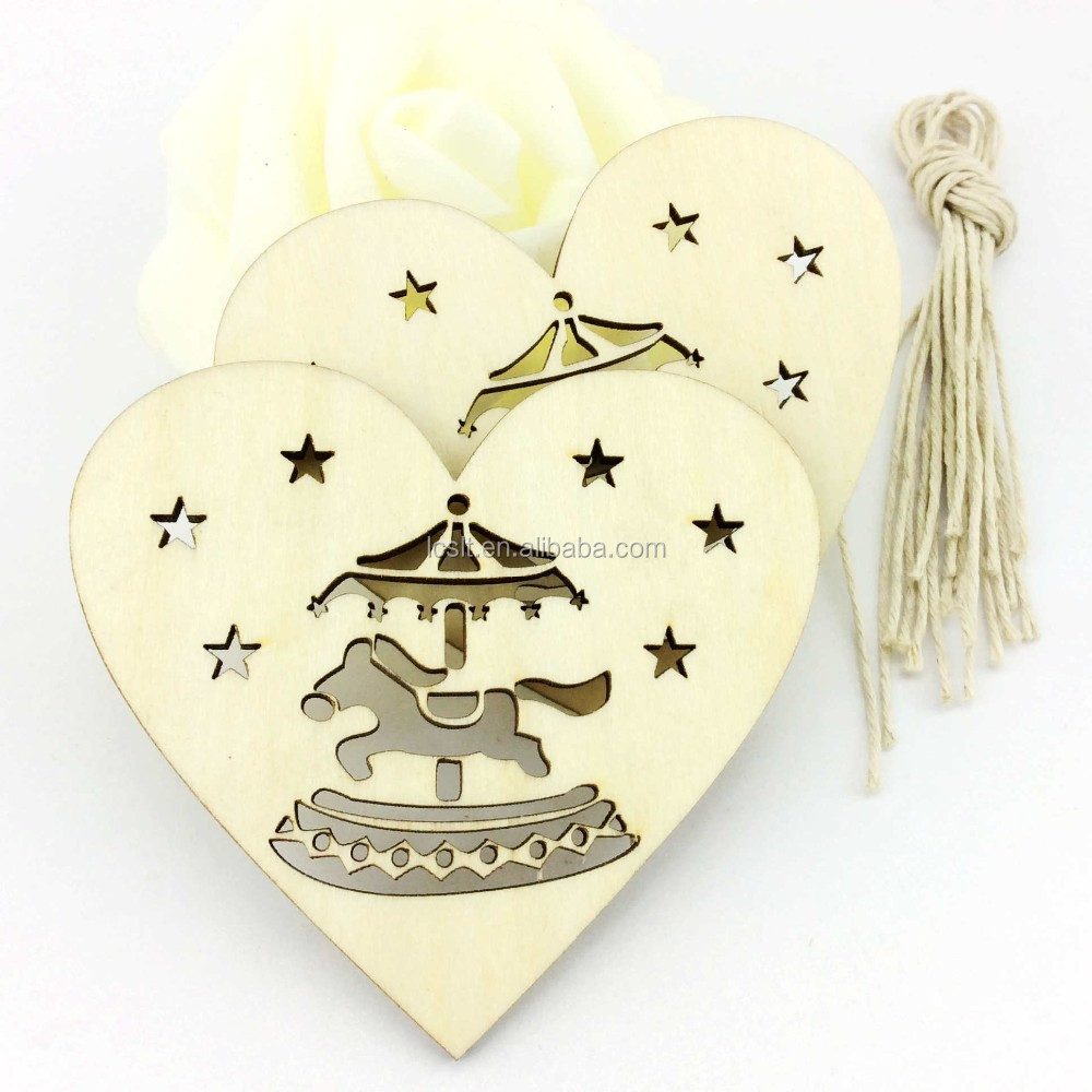 3d laser cutting unfinished christmas hanging flat wooden ornament patterns