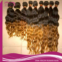 natural&soft 100% virgin colored two tone ombre remy human hair weaving for black women