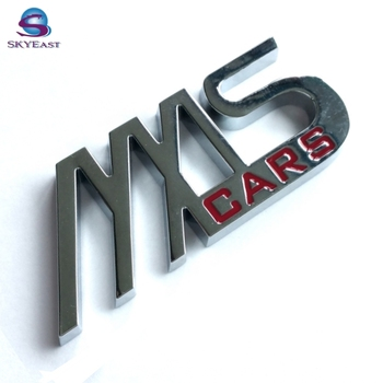 High Shiny Silver Polished Enamel Branded Metal Car Logo Plates
