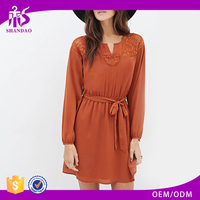 2016 Guangzhou Shandao Spring New Arrivals Long Sleeve Chiffon Plain Dyed Transparent Sexy Night Dress For Girls