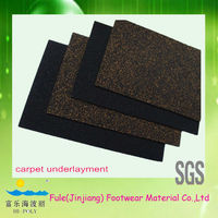 cork and rubber material underlayment for outdoor carpeting