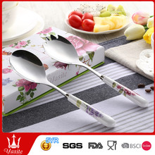 hotsale eco-friendly modern design 2set cutlery set salad fork & spoon With china handle