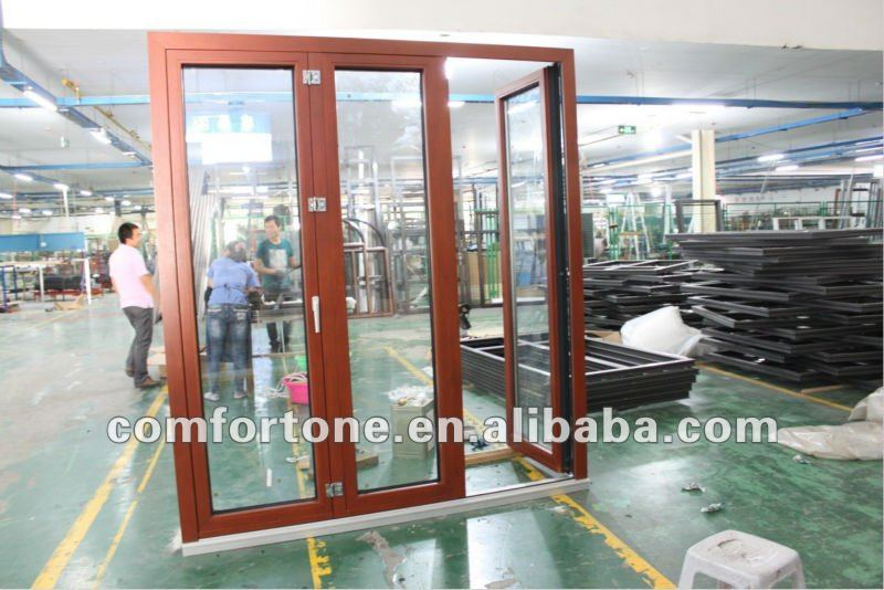 New design wood aluminum composite door with double glass