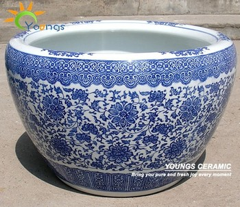 Beautiful large chinese blue white ceramic garden floral pots for outdoor