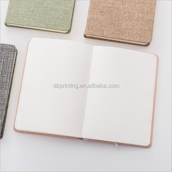 Japanese Style Hardcover A5 Dot Grid Personalized Fabric Linen Cover With Yellow Paper
