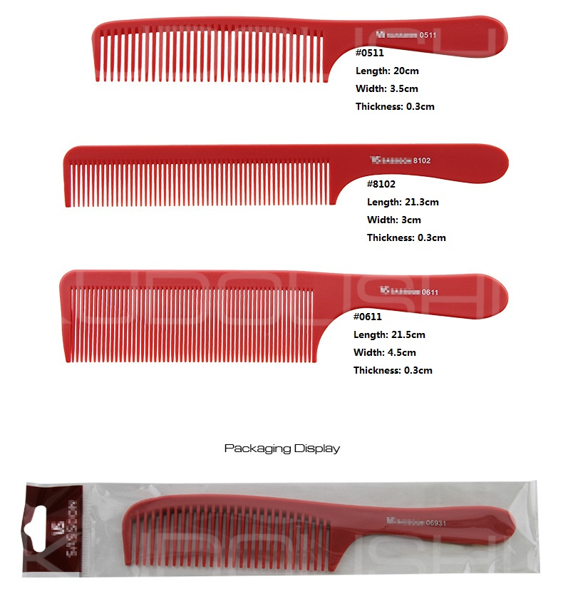 Professional glass fiber red hair dressing comb with handle hair cutting comb fine teeth salon comb