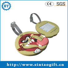 Round shaped animal silicone rubber luggage tag for promotions