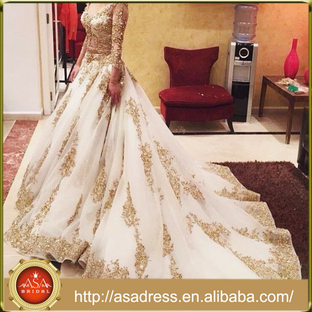 WD-02 Luxury Heavy Hand Made Beaded Long Sleeve Organza V-Neck Tong Train Ball Gown Gold Saudi Arabian Wedding Dress