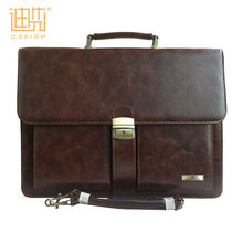 Chrismas gift men document bag Pu leather brown briefcase with handle