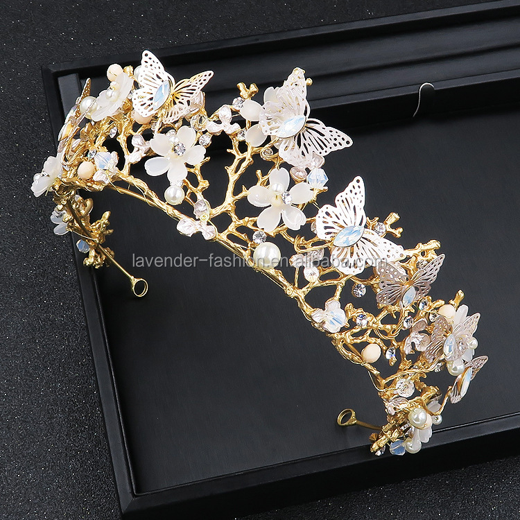 Luxury Wholesale Bridal Wedding Gold Butterfly And Flower Crown Tiara With Rhinestones