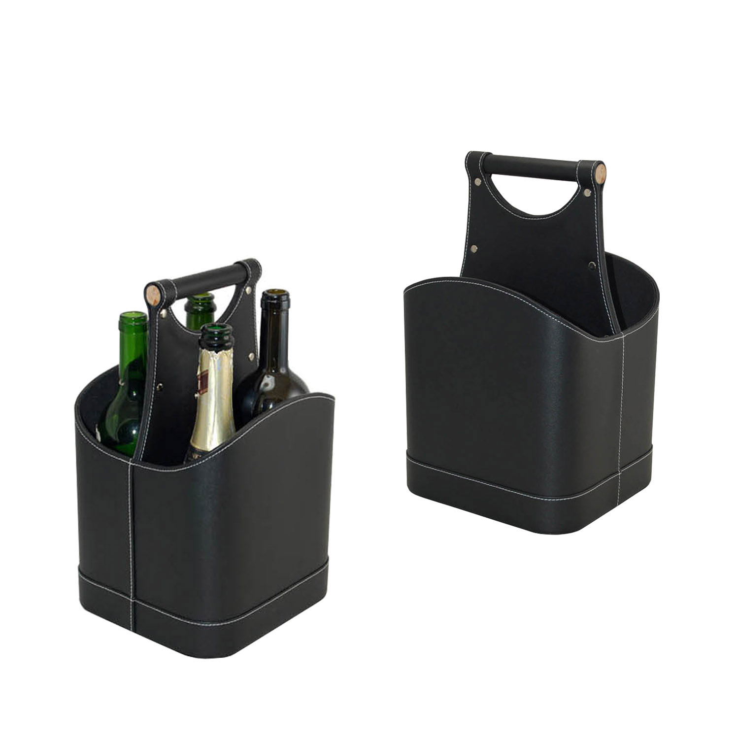 China factory custom stylish non-woven pu leather wine carrier