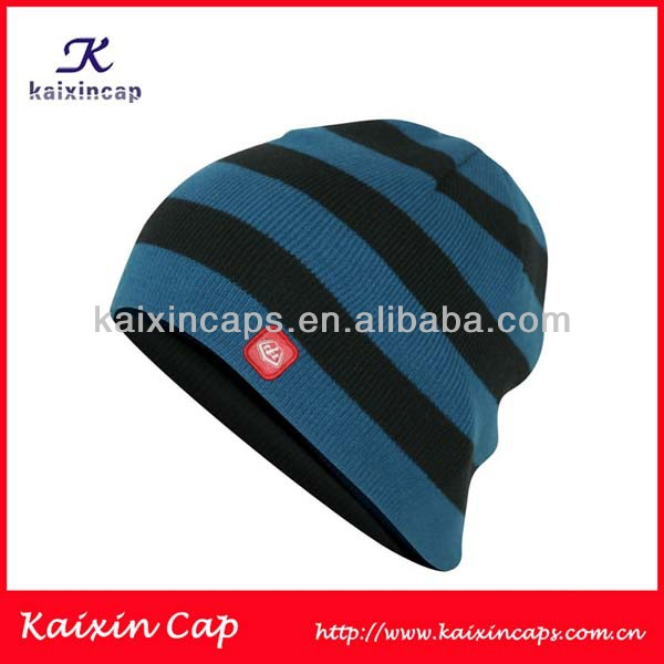 wholesale 100 cotton custom logo stripe knitted winter beanie hat