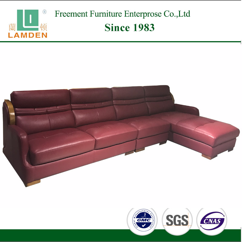 C2256 Foshan furniture manufacturer simple style living room top grain red <strong>leather</strong> sofa